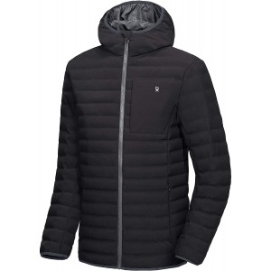 Men's Warm Waterproof Puffer Jacket Hooded Windproof Winter Coat with Recycled Insulation