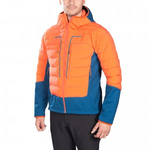 Mens soft shell Hybrid fake down Jacket with hoody