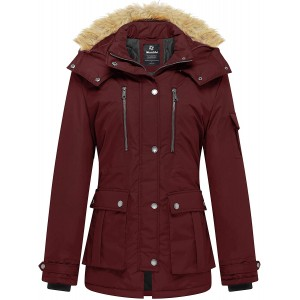 Women's Quilted Winter Coat Warm Puffer Jacket Thicken Parka with Removable Hood