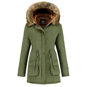Women's Winter Coat Hooded Warm Puffer Quilted Thicken Parka Jacket with Fur Trim