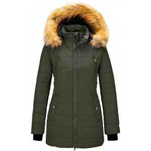 Women's Warm Winter Coat Thicken Puffer Jacket Quilted Parka with Fur Trimmed Hood